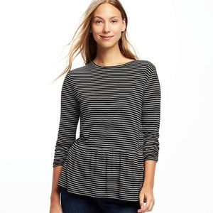 Old Navy Stripe Long Sleeve Peplum Top